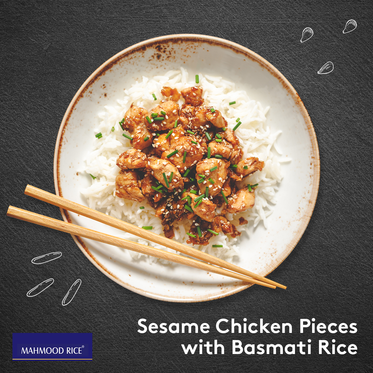 Sesame Chicken Pieces with Basmati Rice